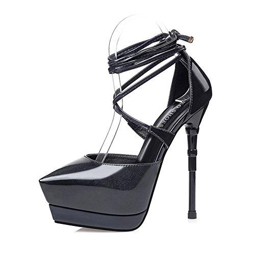 Aisun Damen Sexy Spitz Zehen Stiletto Plateau Pumps mit Schnürung Sandale für Party Schwarz
