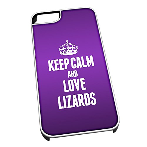 Bianco cover per iPhone 5/5S 2451viola Keep Calm and Love Lizards