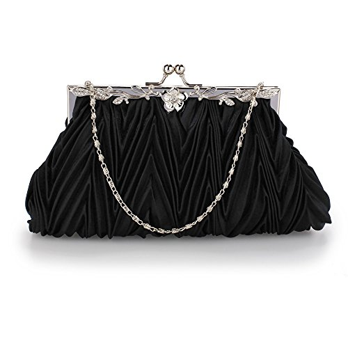 For Bag Satin Large New With Purse Wedding Diamante Clutch Size Designer Chain 1 Bridesmaid Black Flower Design UCHxEqnwWF