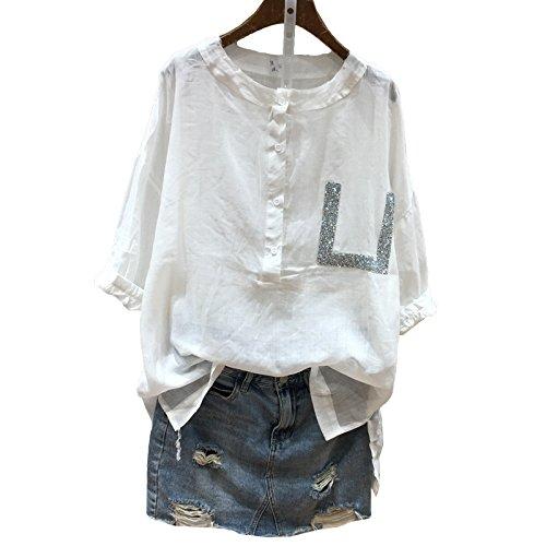Xmy Percer à chaud blanc lâche sur les fourches sont longues, confortable coton manches courtes T-shirts femmes chemises dans le code