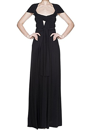 Women's Transformer Convertible Multi Way Wrap Long Prom Maxi Dress V-Neck Hight Low Wedding Bridesmaid Evening Party Grecian Dresses Boho Backless Halter Formal Cocktail Dance Gown Black Medium
