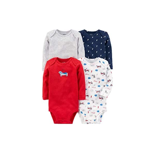 Kerrian Online Fashions 41z6JL3ie9L 4pcs Bodysuits Cotton Long-Sleeve Sets Dog Prints Baby Clothing Sets