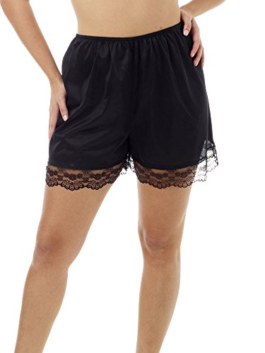 (Underworks Pettipants Nylon Culotte Slip Bloomers Split Skirt 4-inch Inseam Medium-Black)