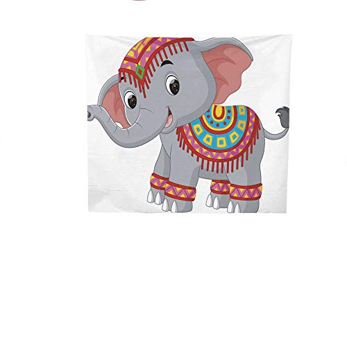 Sunset glow Wall Tapestry Cartoon.jpg Elephant.jpg with.jpg Traditional.jpg Costume.jpg Colorful Tapestry 63W x 63L Inch
