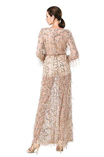 Langärmelige Split missord Maxi Pailletten Kleid Polyester Zwei Gold V Ausschnitt Damen xwqRYPqI