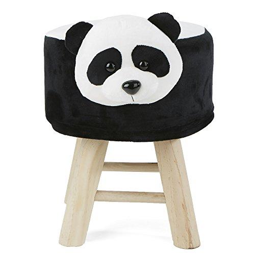 Mind Reader PANDOTTO-BLK Children's Favorite Panda Animal Stool, Chair, Ottoman, Foot Rest, ()