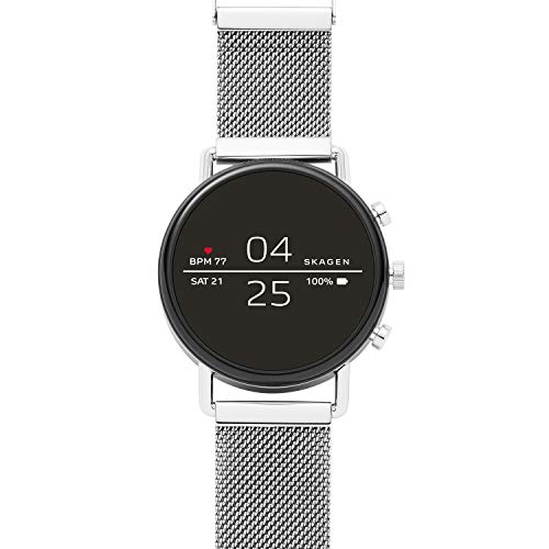 Skagen Connected Falster 2 Stainless Steel Magnetic Mesh Touchscreen Smartwatch, Color: Silver (Model: SKT5102)