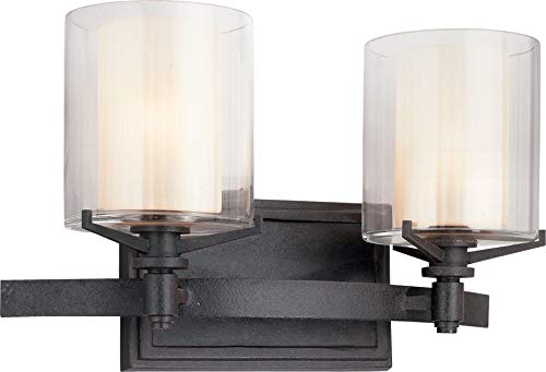 Troy Lighting Arcadia 2-Light Vanity - French Iron Finish with Clear Outer and Ribbed Provence Inner Glass