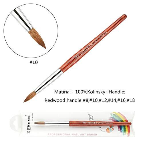 2019 1PC KEMEISI Redwood Handle 100% Kolinsky Sable Acrylic Nails Round Nail Art Brush Manufacturer Size 8,10,12,14,16,18 (#10)