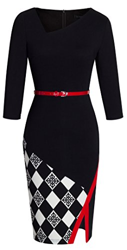 HOMEYEE Women's Elegant Patchwork Sheath Sleeveless Business Dress B290 (XL, Black + Grid)