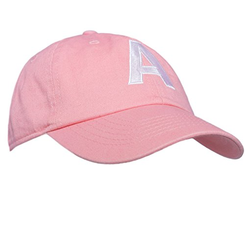 Tiny Expressions Toddler Girls' Pink Embroidered Initial Baseball Hat Monogrammed Cap (A, 2-6yrs) (Monogrammed Hat)
