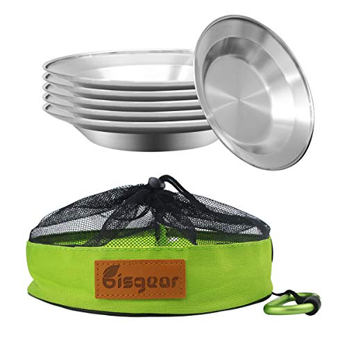 Bisgear Camping Stainless Steel 8.5 inch Kitchen Dinner Plate Pack of 6 + Carabiner + Dishcloth Mess kit Outdoor Dinnerware Set BPA Free Round Plates for Backpacking, Hiking, Picnic & BBQ