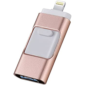 iOS USB Flash Drives for iPhone 128GB [3-in-1] Lightning OTG Jump Drive, AHNR External Micro USB Memory Storage Pen Drive, Encrypted Flash Memory Stick for iPhone, iPad, Android and PC (Pink)