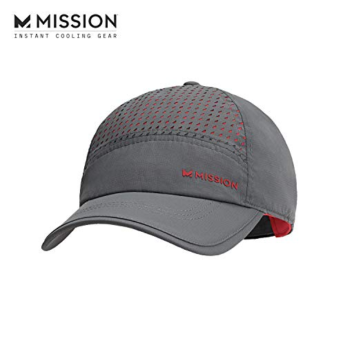Mission Max Cooling Laser Cut Performance Hat, Men's & Women's Cap, UPF 50 Sun Protection, Hook & Loop Adjustable Tab, Evaporative Cool Technology, Cools Instantly when Wet - Charcoal/Teaberry