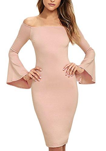 Schienale Donna Parola Vestito maniche Abito Spalla Tubino Colore Vestitini Rosa Lunga mini Puro ginocchio eleganti Senza corti di estivi Vestiti al Manica Abiti tromba rwxRFrq