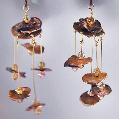 (Bronze Freshwater Keishi Pearl Art Mobile Earrings )