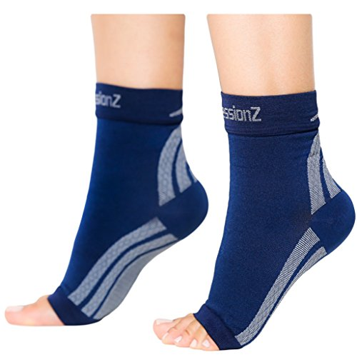 Foot Sleeves (1 Pair - Navy L) Best Plantar Fasciitis Compression for Men & Women - Heel Arch Support/ Ankle - Competitor Band Steel Ladies