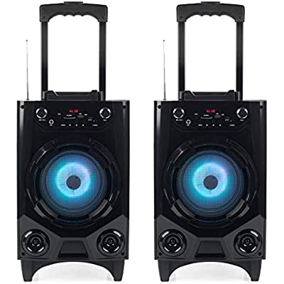 INTEMPO COMBO-5058 Wireless Bluetooth Tailgate Speaker  SD  AUX  USB  Microphone Input for iPhone  iPad  Samsung Galaxy  Android and other Smart USB Devices  Set