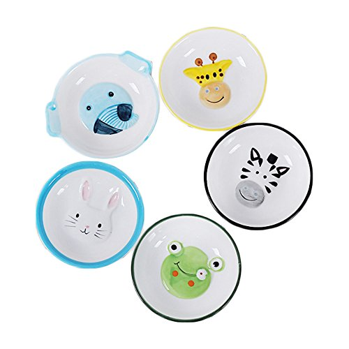 (Colias Wing Cuddly Animal Frog/Rabbit/Zebra/Elephant/Giraffe Pattern Multipurpose Porcelain Side Dish Bowl Seasoning Dishes Soy Dipping Sauce Dishes-Set of 5(Blue/Black/Green/Yellow))