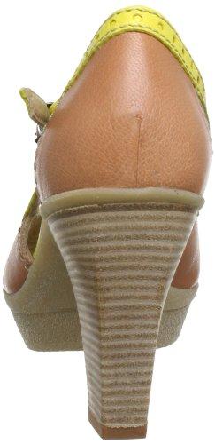 Manas DUBAI 131D1906PM - Plataformas de cuero para mujer Marrón (Braun (NOCCIOLA+YELLOW))