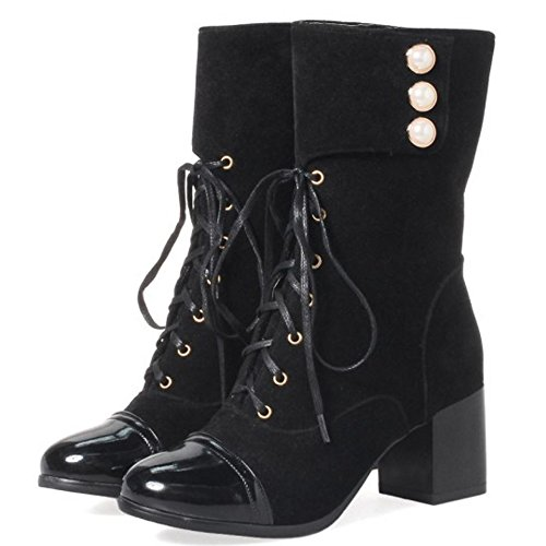 Coolcept Women Western Block Medium Heel Martin Boots Lace Up SU Black 4UmKmOw