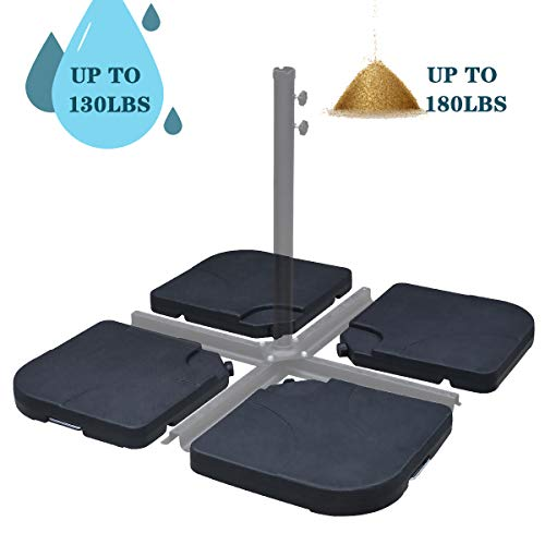 FRUITEAM 4-Piece Umbrella Base for 10' Cantilever Offset Patio Umbrella Square Base Stand-Plate Set Easy-Fill Spouts for Water or Sand up to 180lbs(Heavy Duty Plastic)