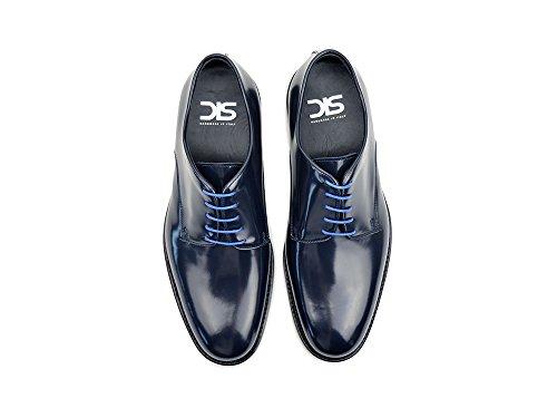 Pertini Sconosciuti - Uomo Lucido Derby Azzurro Proprie Personalizzato Lusso Maschio Blu Brillante Scarpe Derby, Al 100% A Mano In Italia.
