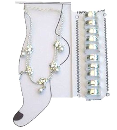 Rhinestone and Crystals on Sterling Silver Anklet and Toe Rings by Gita