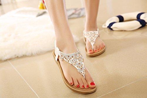 975 Sandal DQQ Flat Women's Beaded White Thong Strap T Yq48px7qw