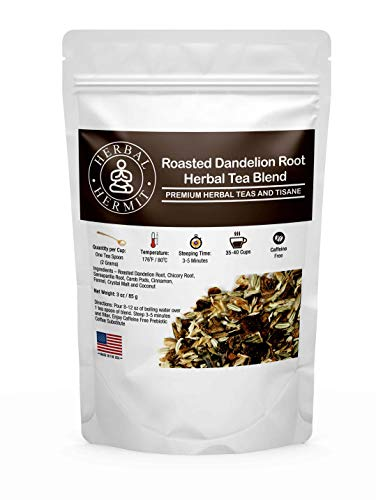 Roasted Dandelion Root Tea with Chicory Root Coffee with Sasperila Root, Cinnamon, Fennel | Prebiotic Fiber Inulin for…