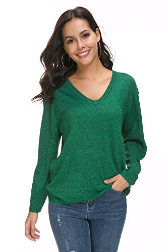 (Sechico Women Loose V-Neck Pullover Sweater Long Sleeve Knitted Sweatershirt (Green S))
