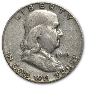 1951 S Franklin Half Dollar Fine/XF Half Dollar Fine