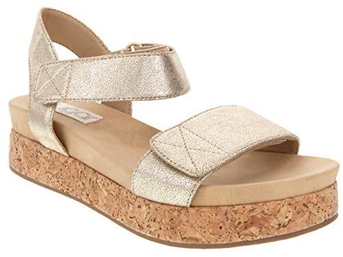Sugar Women's Microchip Platform Cork Wedge Sandal 10 Gold