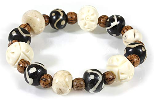 - Style ARThouse Tribal Connection Carved Bone and Horn Stretch Bracelet