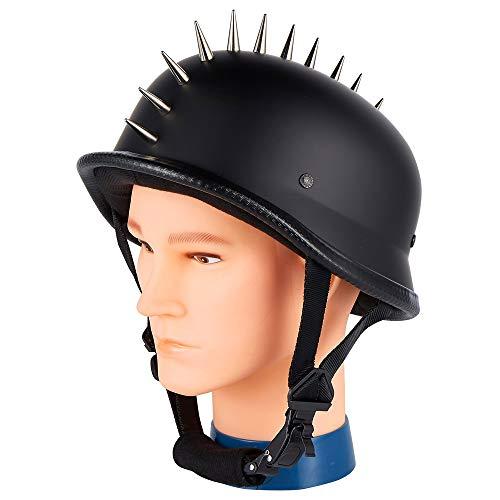 (Dream Apparel Biker Helmet, German Flat Black Novelty Motorcycle Helmet with Spikes (Black))