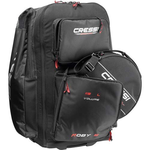Cressi Moby 5 Red Bag with Wheels & 360176; Red Regulator Bag
