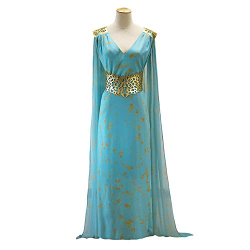 Wigs and surroundings,Game of Thrones Daenerys Targaryen Cosplay Blue Qarth Party Dress V Neck Long Sleeves Cosplay Costume]()