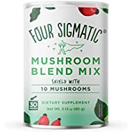 Four Sigmatic 10 Mushroom Blend - Lions Mane, Reishi, Chaga, Cordyceps, Enoki, Maitake, Shiitake, Tremella, Meshima, Agaricus Blazei - 60g - 30 servings, Packaging May Vary