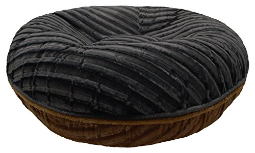 BESSIE AND BARNIE Signature Black Puma/Godiva Brown Extra Plush Faux Fur Bagel Pet/Dog Bed (Multiple Sizes)