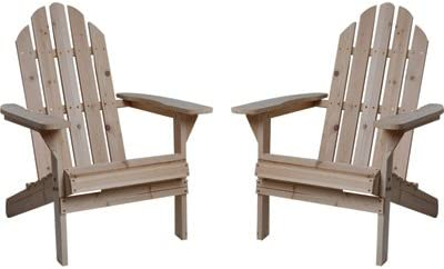 Kotulas Fir Wood Unfinished Adirondack Chairs, Twin Pack