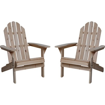 Charmant Fir Wood Unfinished Adirondack Chairs   Twin Pack
