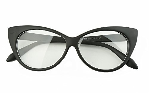 Beison Vintage Cateye Optical Eyeglasses Frame Plain Glasses Clear Lens (Matte black, - Frame Cat Large Eye Glasses