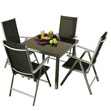 Amazonde Alu Gartenmöbel Sitzgarnitur Sitzgruppe 4 Stühle 1 Tisch