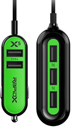 RapidX RXX5USBG X5 5 USB Ports Car Charger 22.4A Green