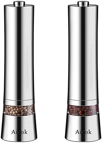 Aicok Stainless Steel Electronic Salt and Pepper Grinder Set with Adjustable Ceramic Coarseness LED lights (Pack of 2)