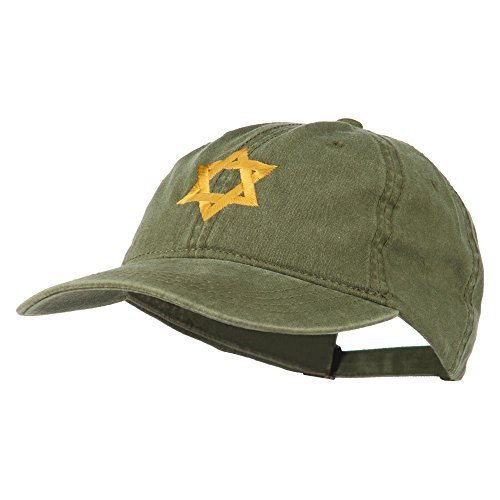 Jewish Star of David Embroidered Washed Cap - Olive OSFM for $<!--$8.00-->
