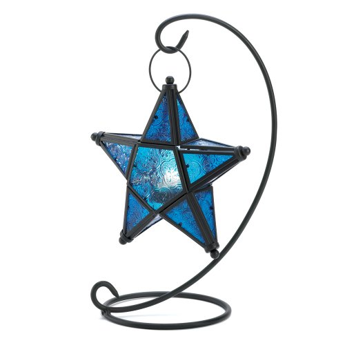 Gifts & Decor Blue Sapphire Star Tabletop Candleholder Lantern ()