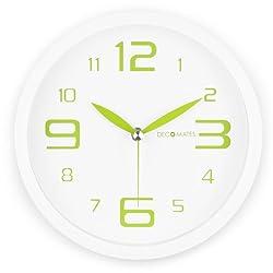 DecoMates Non-Ticking Silent Wall Clock, Fresh Mint, Green Spearmint