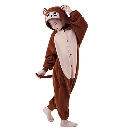 [Cute Kigurumi Animal Kid Monkey Onesie Pajamas for Teen Boy & Girl Costume Cosplay Outfit 105#] (Raccoon Girl Costumes)