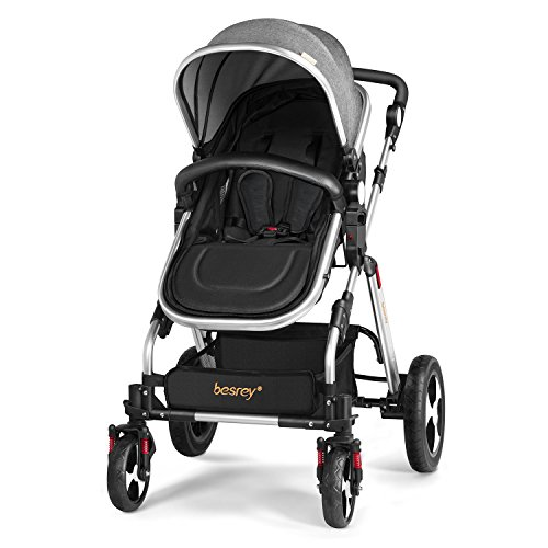 Besrey Luxury Newborn Baby Stroller for Infant Folding Convertible Baby Carriage - Gray